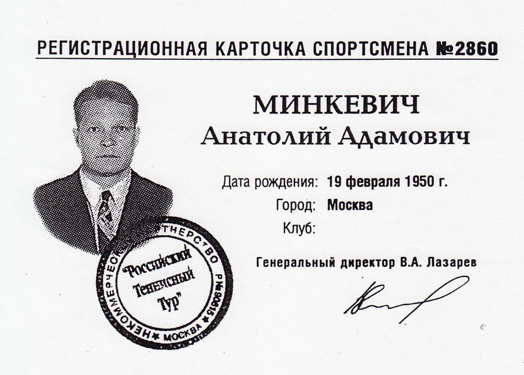 Карточка спортсмена Российского теннисного тура