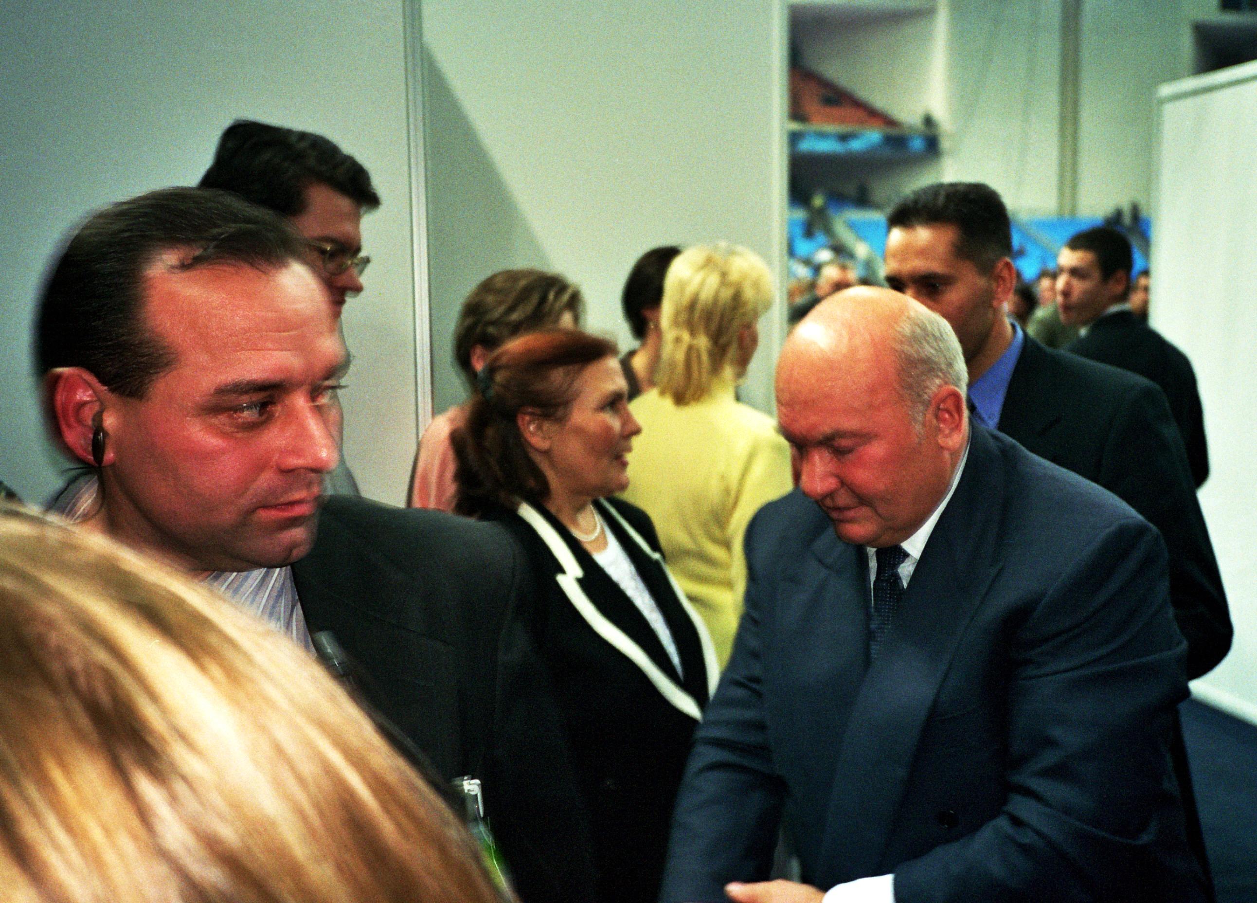 Лужков Юрий Михайлович мэр Москвы на международном теннисном турнире ATP-Tour Кубок Кремля 2001