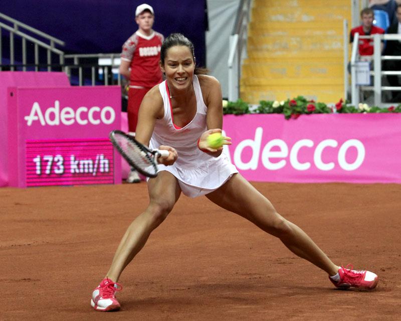 Иванович Ана (Сербия)-звезда мирового тенниса, бывшая первая ракетка мира на Кубке Федерации Россия-Сербия (2012)