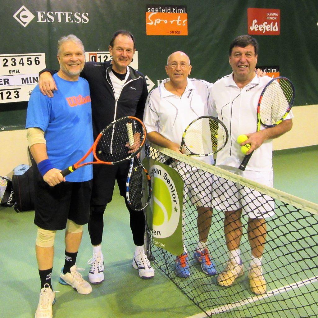 Чемпионат Европы по теннису ITF Seniors. На фотографии полуфиналисты парного разряда. Слева-направо Minkevich Anatoly (RUS) Gerecke Martin (GER) Haupt-Buchenrode Alex и Hellmonseder Harald (AUT) Австрия, Зеефельд-2018