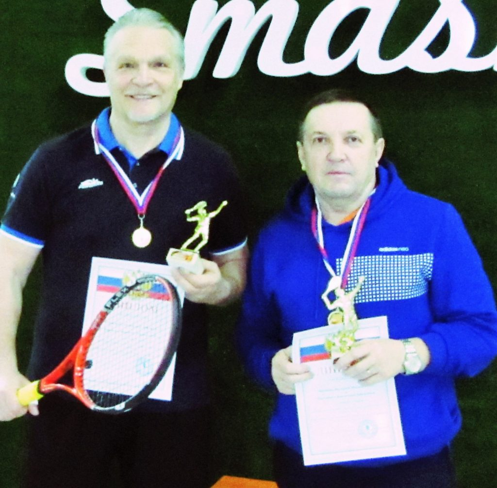 Минкевич Анатолий (Москва) и Миронов Валерий (Ставрополь) победители мужского парного разряда на всероссийском теннисном турнире в городе Ставрополе 2018