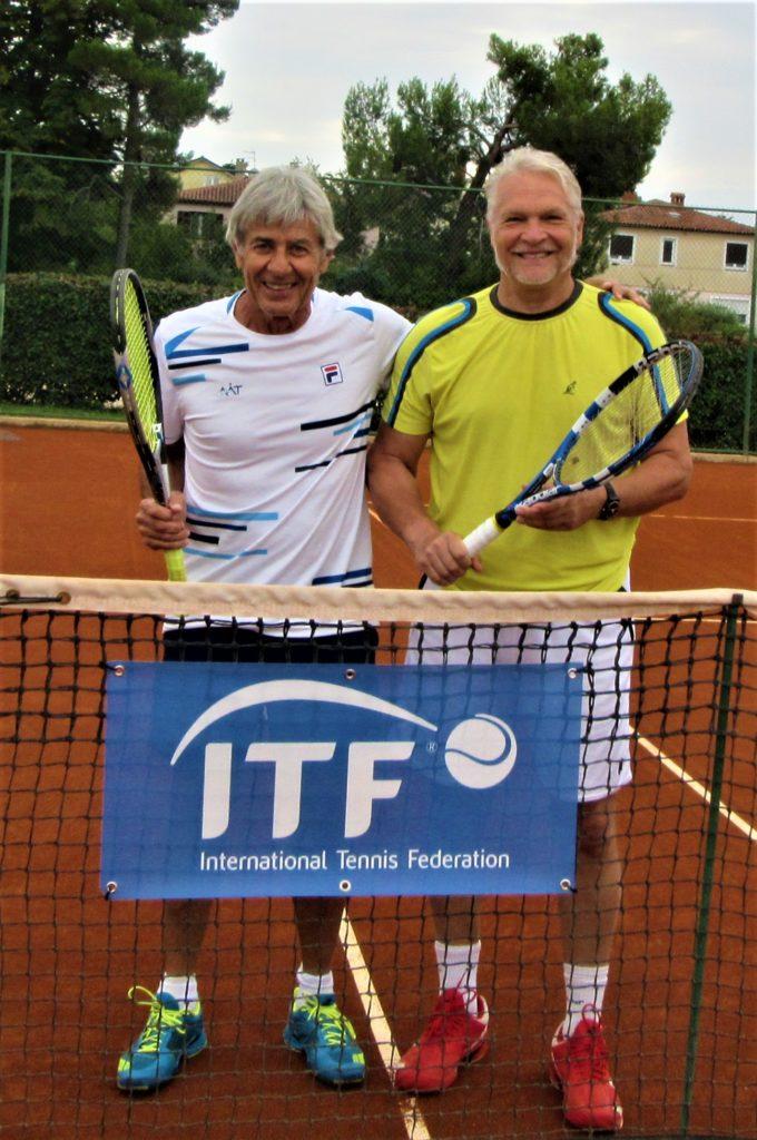 Anatoly Minkevich (RUS) и Ernesto Ermaccra (ARG) на 39th World Tennis Championships ITF Super-Seniors г. Умаг, Хорватия 15-28 сентября 2019 г.